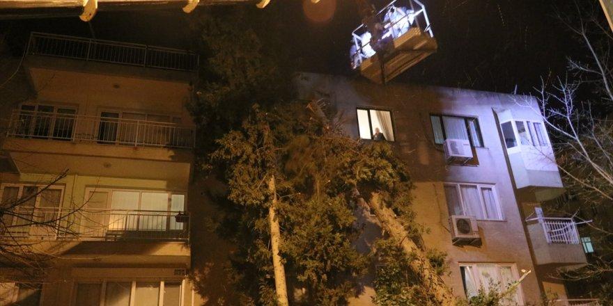 İzmir'de şiddetli rüzgar etkisini sürdürüyor