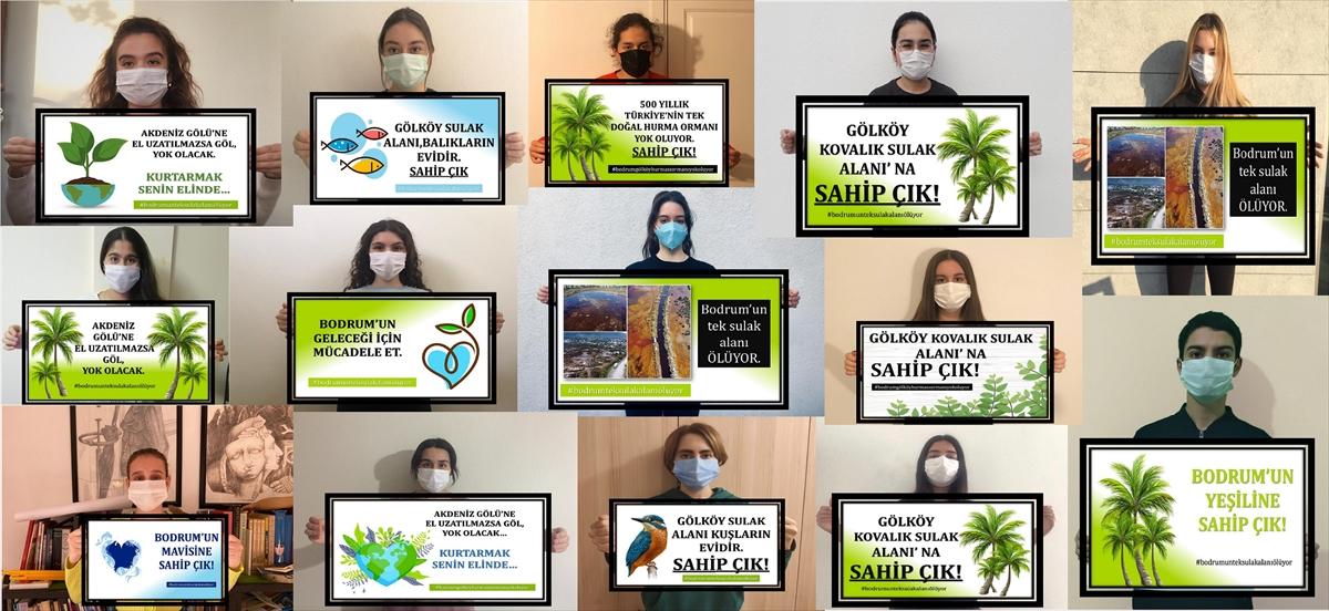 Bodrum'da lise öğrencileri sulak alanın korunması için imza kampanyası başlattı